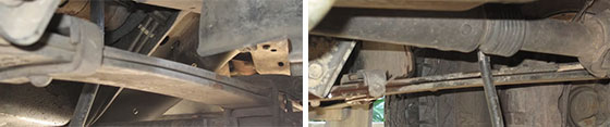 Backwards bend showing the vehicle's front spring