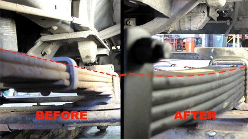flat leaf springs before and after