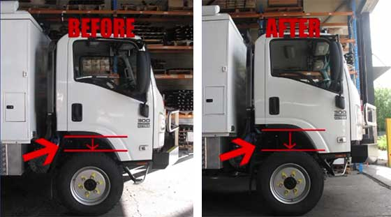 Suspension on Isuzu NPS300 4x4 Truck